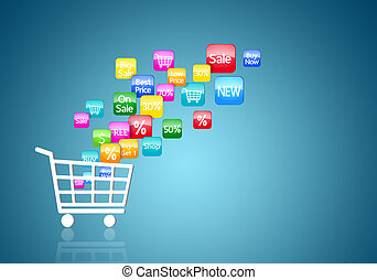 internet, shopping linha, conceito