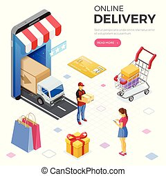 Internet Shopping Online Delivery Isometric Concept