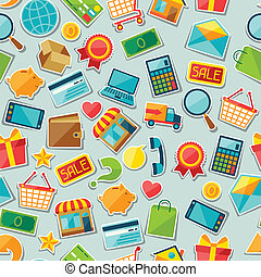 Internet shopping seamless pattern.