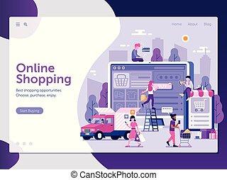internet shopping, side, skabelon, landgangen