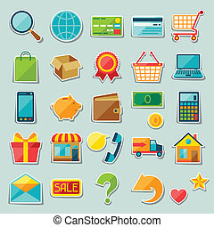 Internet shopping sticker icon set.