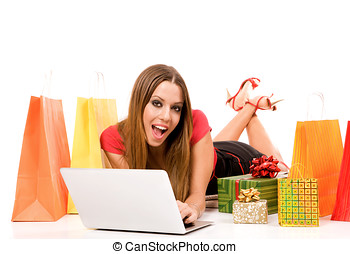 internet shopping  - Woman shopping over internet.