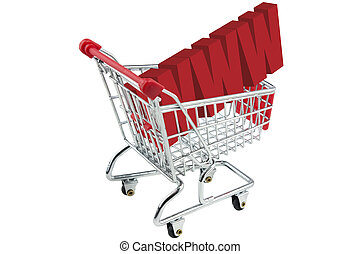 internet www shopping trolley isolated on white background