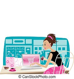 Vector illustration of a girl using internet for shopping at cafe