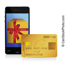 internet shopping with smart phone and credit card...