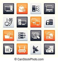 internet, sieć, stylizowany, kolor, na, ikony, komputer, tło