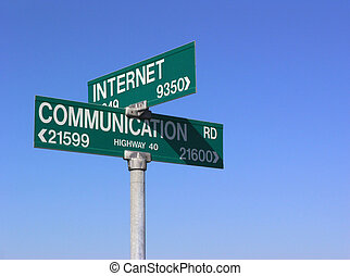 Internet sign - Internet communication sign, against blue...