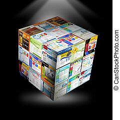 internet, sitio web, 3d, cubo, en, negro