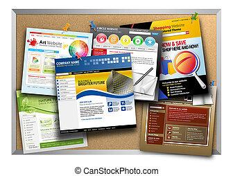 internet, sitio web, diseño, tablón de anuncios