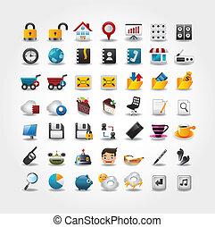 internet, &, sito web, icone, icone, icone, set