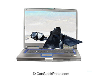 Internet snorkling vacation - Computer laptop screen showing...