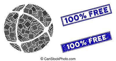 Internet Sphere Mosaic and Distress Rectangle 100% Free Stamp Seals