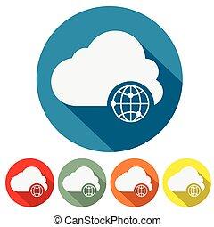 internet storage cloud web icon flat design