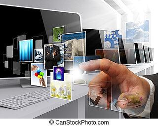 internet, strömma, avbildar