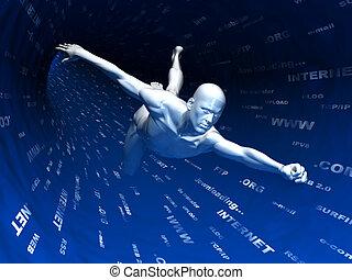 internet surfing - abstract 3d illustration of internet...