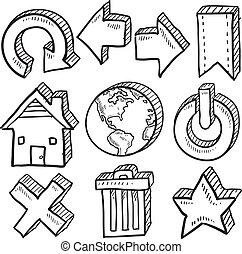 Internet symbol vector sketches