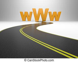 Internet symbol www and a long road, symbolizing of web...