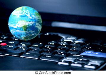 internet, számítógép, ügy, globális