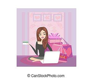 .internet, szczęśliwa kobieta, shopping online