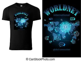 internet, t-shirt, ontwerp, black , motief