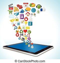 internet, tablet, iconen