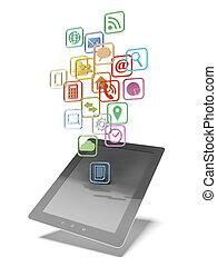 internet, tablette, icônes