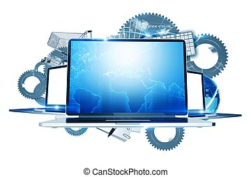 Internet Technologies - Computers Technology Illustration....