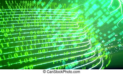 Internet technology data transfer concept. - Green binary...