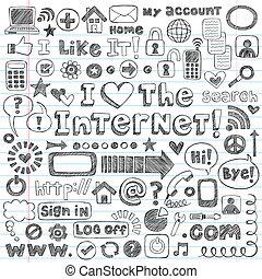 internet, teia, doodle, ícone, vetorial, jogo