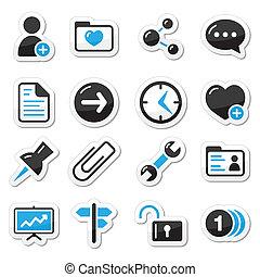 internet, teia, etiquetas, ícones