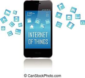 internet, teléfono, elegante, cosas
