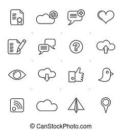 internet, tela, y, móvil, iconos