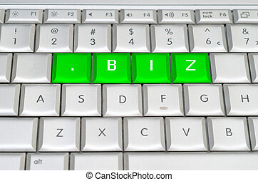 Internet top level domain .biz spelled on metallic keyboard