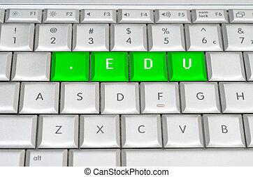 Internet top level domain .edu spelled on metallic keyboard