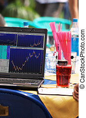 Internet trading in the beach-cafe