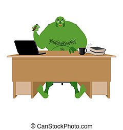 Internet troll. Big green goblin sits at laptop. Org and computer. Green Monster writes comments