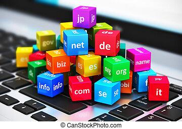 internet, und, domäne, namen, begriff