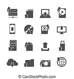 internet, upload, símbolos, ícones, jogo