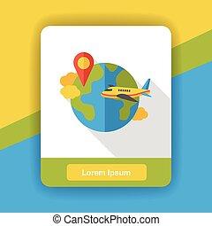 internet, värld, lokalisering, lägenhet, ikon