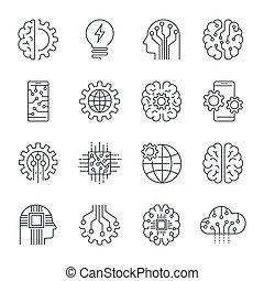 internet, van, spullen, (iot), kunstmatige intelligentie, (ai), connectivity, vernieuwend, smart, cyber, veiligheid, digitale informatie, technologieën, (it), vector, pictogram, set., editable, slag