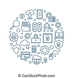 Internet vector round concept outline blue illustration