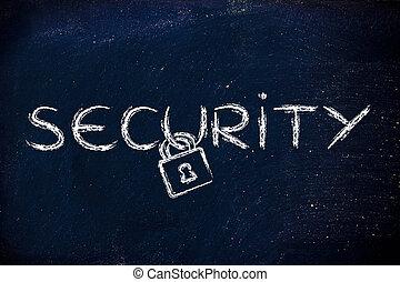 internet veiligheid, risico's, voor, privacy, en, vertrouwelijk, info, slot