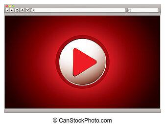 internet, video, czerwony, browser