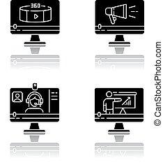Internet video drop shadow black glyph icons set