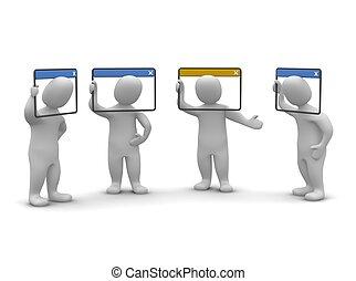internet, videoconference, concept., 3, återgäldat, illustration.