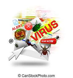 A internet email is open with various computer virus icons around it. There is a white background. Use it for a hacker or infection concept.