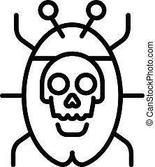 Internet virus icon, outline style