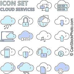 internet web, assurer, données, global, système, icons., isolé, symboles, plate-forme, connexion, vecteur, sécurité, numérique, ligne, technologie, nuage