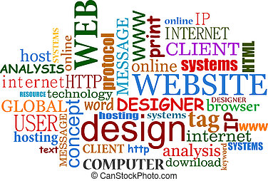 internet web, conception, nuage, étiquettes