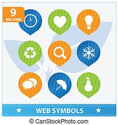 Internet web flat symbols set
